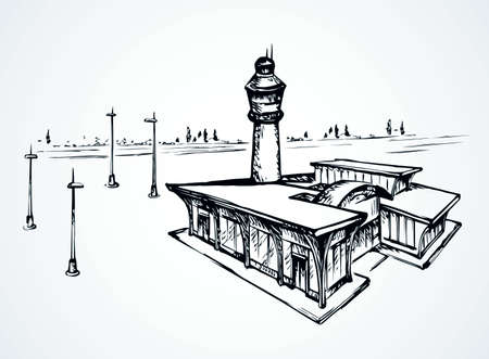 Small urban airfield port observation house on white field. Freehand outline black ink hand drawn jet avia trip aerodrome gate design sign in modern doodle cartoon style pen on paper text space