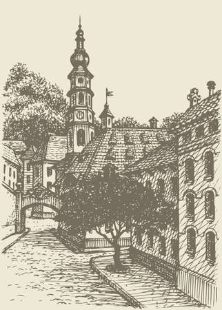 Vector architectural landscape. Street of an old European town, leading to the temple