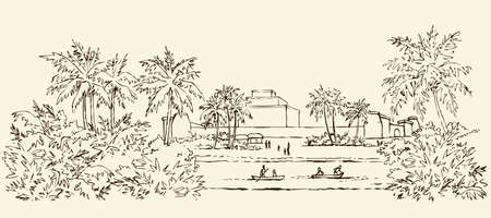 Past biblic sumer babil aged tropical rural tribe dwelling. Aramean chaldean peasant job scene. Middle east old semitic view. Ink drawn picture sketch in art retro etching graphic style pen on paper 向量圖像