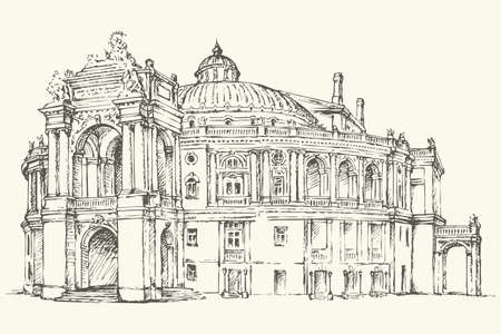 Odessa National Academic Theater of Opera and Ballet, Ukraine. Vector monochrome freehand ink drawn background sketchy in art scribble antiquity style pen on paper with space for text Vettoriali