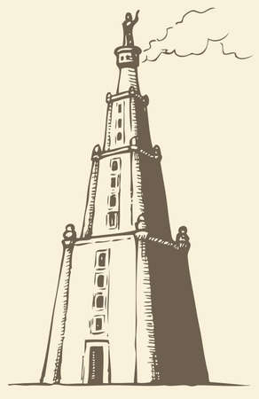 Illustration of a series of vector drawings for the Seven Wonders of the Ancient World. Lighthouse of Alexandria, also known as Pharos of Alexandria 向量圖像
