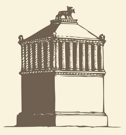 Illustration of a series of vector drawings for the Seven Wonders of the Ancient World. Mausoleum at Halicarnassus or Tomb of Mausolus