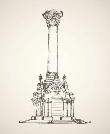 Majestic aged granite greek carved pylon block plinth on luxury ornate base isolated on white backdrop. Freehand outline ink drawn symbol sketch in doodle style. View closeup with label space for text