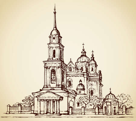 Dormition Cathedral, Poltava, Ukraine. Classical portico with columns at the entrance to the bell tower with a tall steeple. For slatted fence with shrines largest cathedral in the Baroque and orchard. Vector monochrome freehand drawn sketching in style of pen on paper isolated on white background with space for text