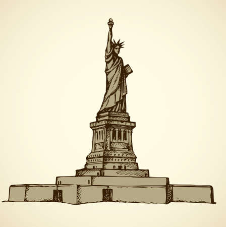 Statue of Liberty is colossal female figure on Island in New York Harbor. Vector monochrome freehand ink drawn background sketchy in art scribble antique style pen on paper with space for text on sky Stock Illustratie