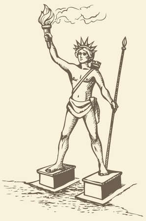 Illustration of a series of vector drawings for the Seven Wonders of the Ancient World. Colossus of Rhodes, a statue of the Greek Titan Helios, erected in the city of Rhodes, on the Greek island