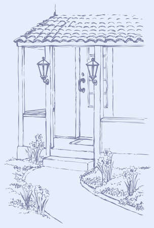 Vector illustration. The path leading to the front porch cozy home, surrounded by flowers