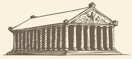 Illustration of a series of vector drawings for the Seven Wonders of the Ancient World. Temple of Artemis at Ephesus