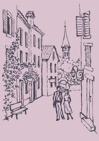 Vector cityscape. Couple in love walking along the narrow old street