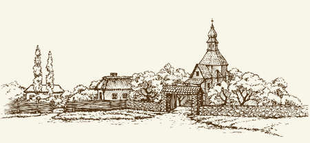 Old Ukrainian village: clay hut with a thatched roof, wooden church of stone wall. Vector monochrome freehand drawn sketching background in style of antiquity pen on paper. Panoramic view with space for text on sky