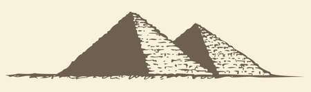 Illustration of a series of vector drawings for the Seven Wonders of the Ancient World. Great Pyramid of Giza (also known as the Pyramid of Khufu or the Pyramid of Cheops)