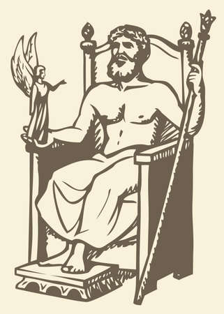 Illustration of a series of vector drawings for the Seven Wonders of the Ancient World. Statue of Zeus at Olympia made by the Greek sculptor Phidias in circa 435 BC at the sanctuary of Olympia, Greece, and erected in the Temple of Zeus there
