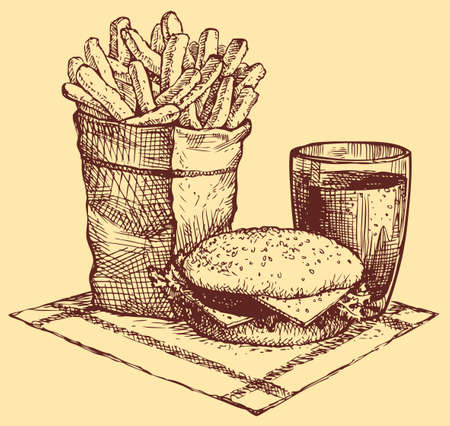 Vector still life of fast food. French fries in a paper bag, a burger and a Coke in a glass beaker Ilustração