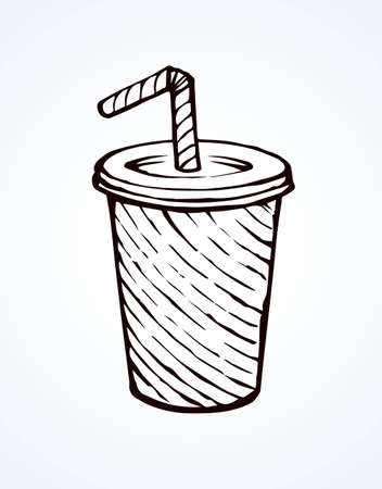 Pop plastic tare of cool ice sweet gas softdrink coctail on white background. Line black ink hand drawn mug logo sketch in art doodle engraving style pen on paper. Close up view with space for text