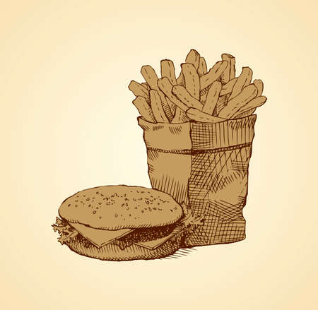 American still life in  combo bar. Beefburger and popped side dish isolated on white backdrop. Ink hand drawn picture sketch in doodle retro graphic style pen on paper with space for text