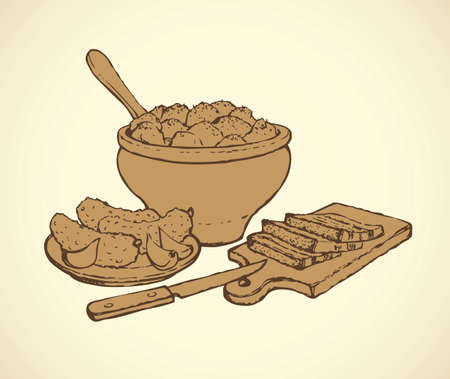Appetizing kitchen still life. Traditional Slavic nutrient: fry in crock, marinated sativum and chopped fat slices isolated on white backdrop. Outline ink hand drawn picture sketch in art retro style