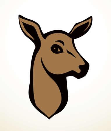 Cute elegant brown spot adult dama goat beast look. Outline black hand drawn red impala emblem design retro beauty art sketch zoology contour print style. Closeup view white wall text space backdrop Illusztráció