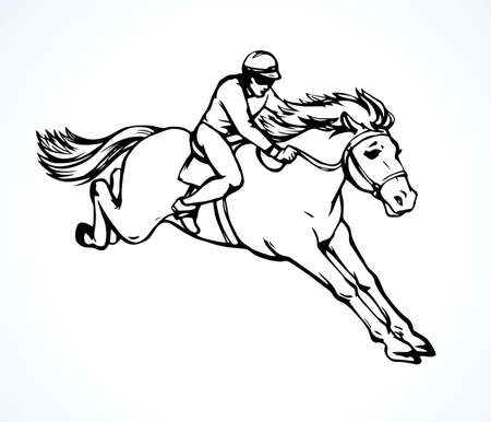 White fast rear up athlete arabian courser on paddock space for text. Line derby bet sign icon. Outline black ink hand drawn bay mammal pet gelding club in art doodle vintage vector cartoon style