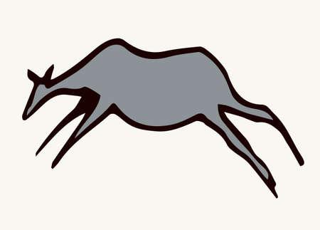 Closeup view age red African tribe run goat figure life pictograph set white backdrop. Line dark black ink paint hand drawn grunge flat bison bull shape   design. Retro past era mural print style Ilustração