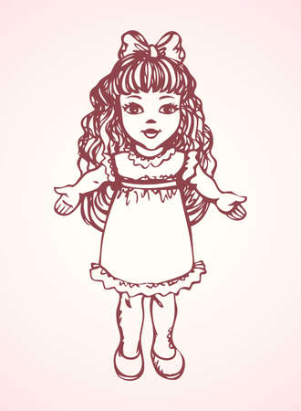 Small cute tilda poppet girlie isolated on white backdrop. Freehand outline ink hand drawn picture sign sketchy in grunge art retro scribble style pen on paper. Closeup side view with space for text Ilustracja