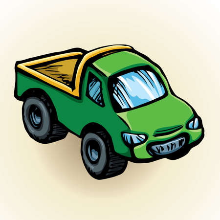 Cute toy emerald transfer sedan smooth shape isolated on white background. Freehand vibrant colot hand drawn picture sign sketchy in art retro scribble style. Closeup side view with space for text