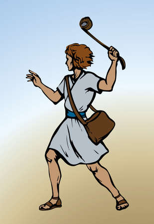 Young antique brave israeli arabic kid guy hero wear old white robe tunic dress cloth. Line black drawn judaic human sport battle hunter god rock target aim goliath icon sign. Retro art graphic style