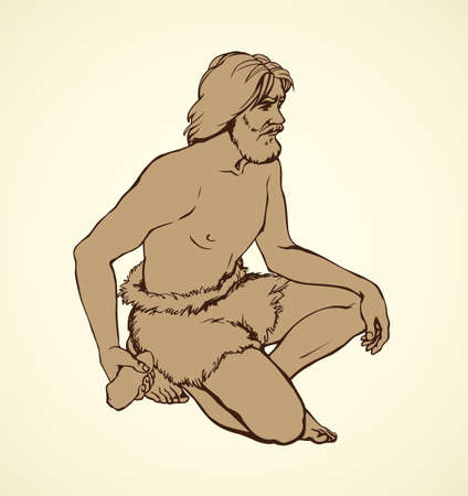 Outline ink drawn figure sketch in art retro archaic epoch engraving style. Aged habilis erectus cave-dweller in loincloth of fur animal skin squeeze big heavy hard rock in knuckle isolated on white Ilustração
