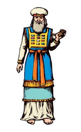 Moses torah historic divine ministry culture. Old righteous bearded Aaron with tunic, turban, horn of anoint oil. Bright blue color hand drawn judaic levit leader picture sketch in vintage east style