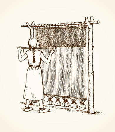 Young viking female in simple dress braid on archaic primitive knitting machine isolated on white backdrop. Freehand outline ink drawn picture sketch in retro art engraving style with space for text