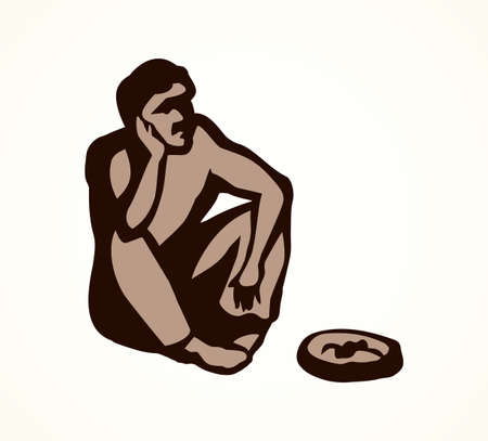 Adult sick dirt skinny bankrupt almsman at coin plate on white city space for text. Line black ink hand drawn travel vagrant character icon pictogram sketch in retro art doodle cartoon graphic style