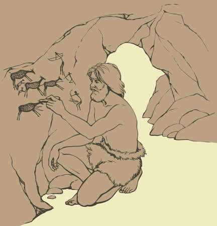 Outline doodle drawn image. Archaic aged male person in loincloth of fur animal skin draw in charcoal on rock wall of cavern grotto depict scrawl figure of life: hunters shoot bows arrow in deer herd