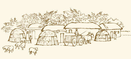 Past biblic babel aged jungle rural tribe. Early arabic peasant slave job scene. Old clay mud abode, round thatch shack barn, donkey wagon. Outline ink hand draw picture sketch in retro style
