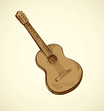 Classical guitar isolated on white backdrop. Freehand outline ink drawn object sketchy in retro engraving style pen on paper. Closeup view with space for text