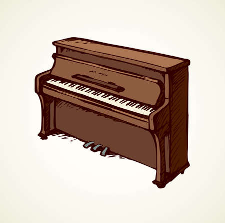 Ancient ebony harpsichord tune on white backdrop. Freehand outline ink hand drawn pianino object logo emblem pictogram sketchy in artist retro scribble cartoon style. View closeup with space for text