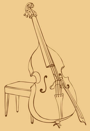 Vector drawing Double Bass with a bow, simply supported on a stool for a musician