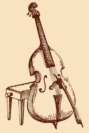 Vector freehand drawing Double Bass with a bow, simply supported on a stool for a musician