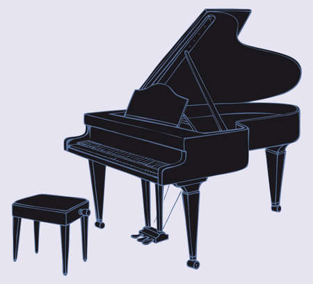 Vector drawing of an open black grand piano and stool for a musician