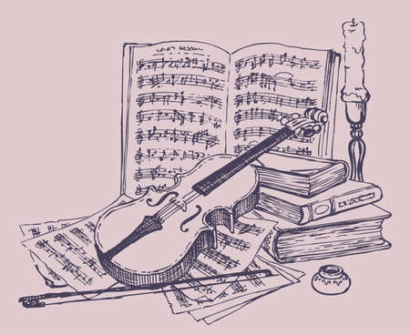 Vector still life. Violin with bow, books, pages of notes, ink, and a candlestick with a candle 矢量图像