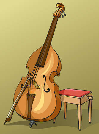 Vector color drawing Double Bass with a bow, supported on a stool for a musician 矢量图像