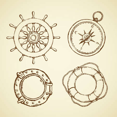 Navy schooner shipswheel, wind rose, frigate scuttle, sos life preserver isolated on white background. Freehand outline ink hand drawn picture sign sketch in art doodle retro style with space for text Vettoriali