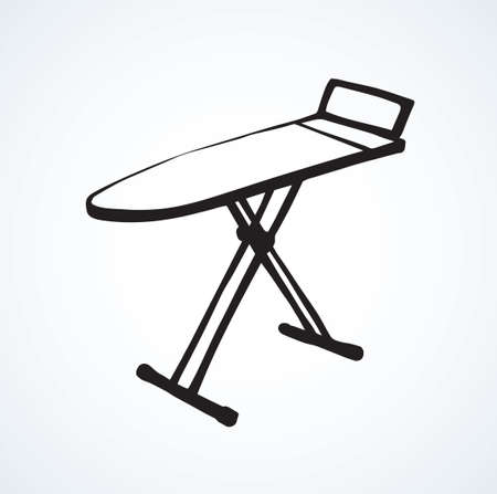 Modern table for garment ironing on white backdrop. Freehand outline black ink hand drawn collapsible object emblem in art retro scribble cartoon style pen on paper space for text. Isometric view