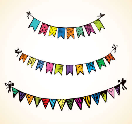 Cute tied different baby pennant streamer flap set isolated on white backdrop. Freehand outline ink hand drawn picture sketchy in art retro scribble style pen on paper. View closeup and space for text