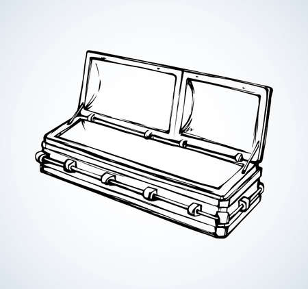 Old nice plank morgue die chest crate on white crypt space for text. Freehand outline dark ink hand drawn pictogram object sketchy in art retro scribble cartoon contour style pen on paper