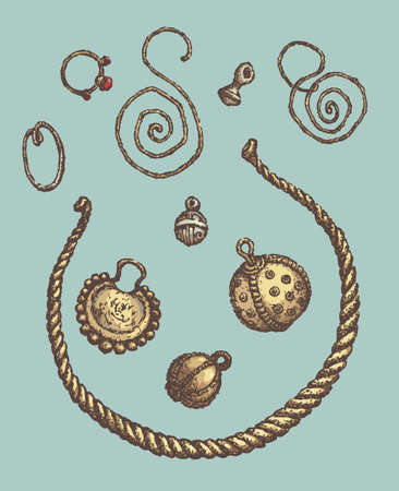 Series of vector illustrations of archaeological finds from the excavations of ancient human habitat. Ancient Jewelry: copper, silver and gold rings, earrings, buttons and Neck hoop
