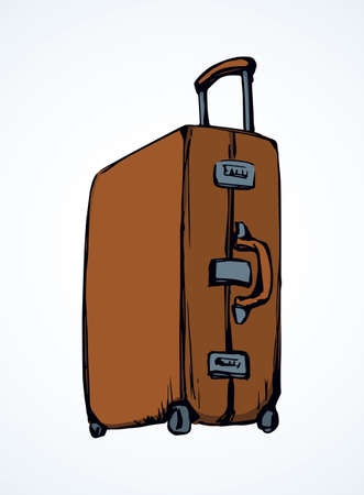Big old closed carry trunk box sac on white airport backdrop. Vibrant airplane Suit case holdall carryall. Bright brown color hand drawn emblem sketch in retro art doodle style with space for text
