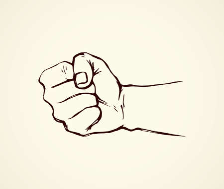 Male rage force riot palm on white background. Line black ink drawn forearm wrist part emblem pictogram sketch in vintage art doodle unity rebel poster style pen on paper. Closeup with space for text Vectores