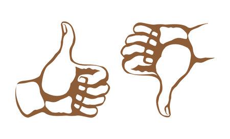 Human male fail valid vote accept attitude arm mark. Line black drawn super okay media well ok signal pictogram concept design retro art cartoon graphic sketch nice quality style white text space Vectores