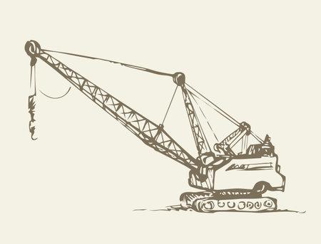 Bulldozer truck illustration background.