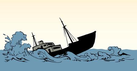 Sinking ship illustration background. Ilustrace