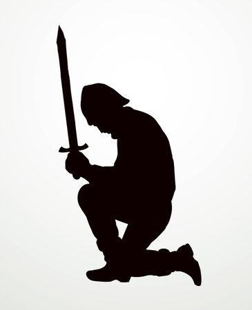 Brave power past holy age biblic devote rite respect lord god human male body suit. Dark black strong king hero love saint force battle blade ritual worship logo concept in retro white bible art style Logo